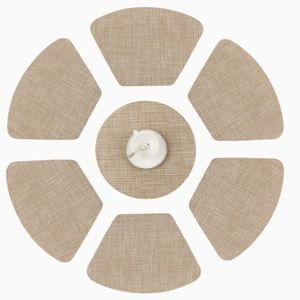Place Mats Round Table Decorative Woven Beige